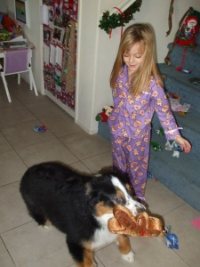 Frisco & Jenny on Christmas with new toys